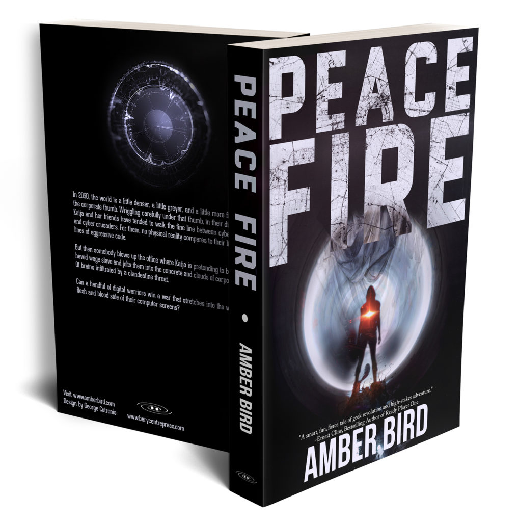 Copies of the book Peace Fire. Cover is black with a silhouette with a red flare in the middle, in front of and a large, round, metallic shape