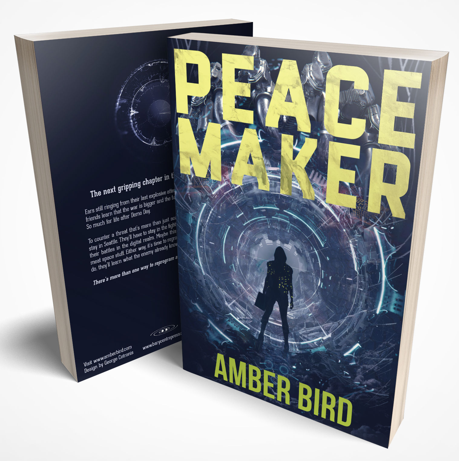 Copies of the book Peace Maker. Cover features a silhouette wearing a hoodie and boots, carrying a boxy container in her left hand, stands in front of a mechanical tunnel segmented by rings of blue-ish light